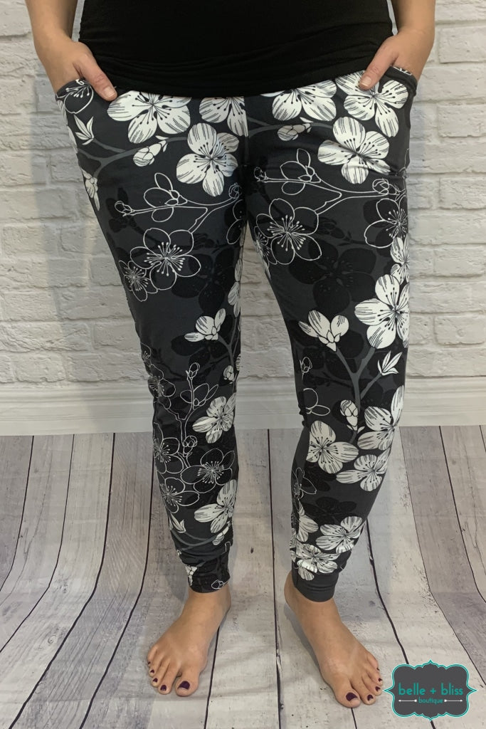 Buttery Soft Joggers With Pockets - Charcoal Floral B+B Crew