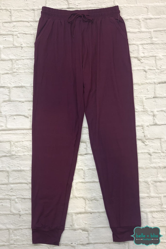 Buttery Soft Joggers With Pockets - Raspberry Wine Bottoms
