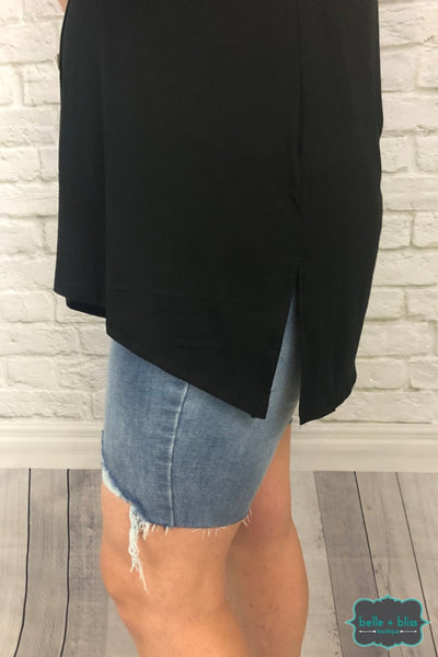 Button Front Hi Low Tank - Black Tops & Sweaters