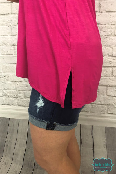 Button Front Hi Low Tank - Hot Pink Tops & Sweaters