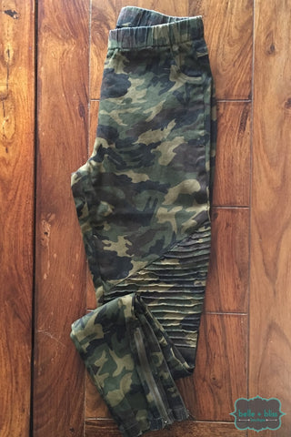 Camo Moto Jeggings - Green Bottoms