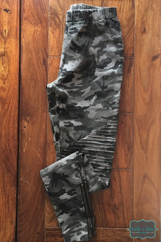 Camo Moto Jeggings - Grey Bottoms