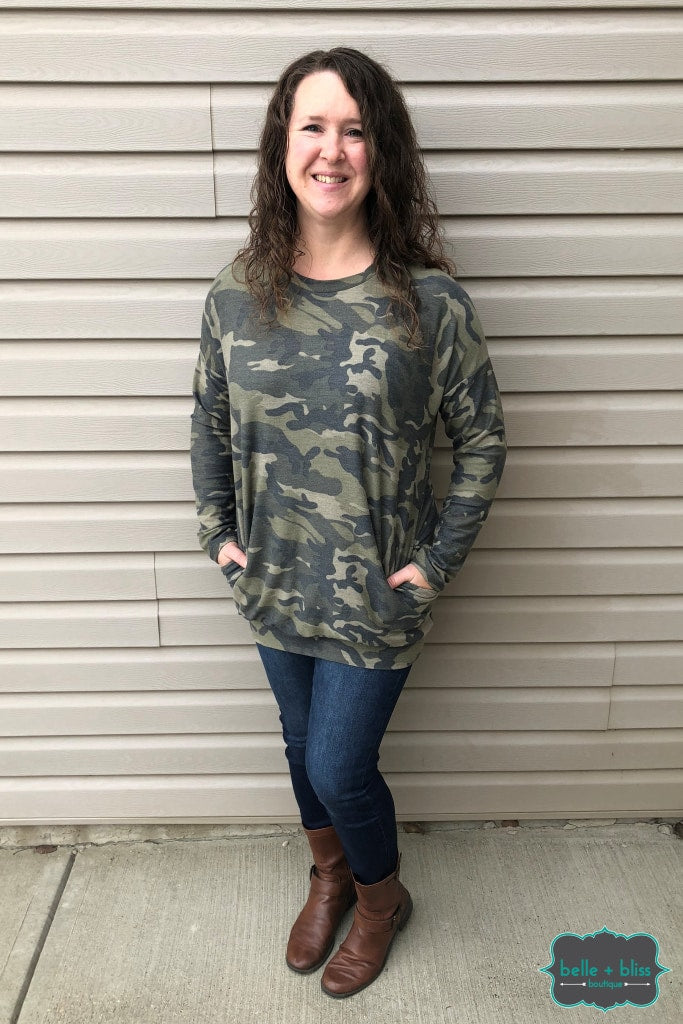 Camo Tunic With Pockets Tops & Sweaters