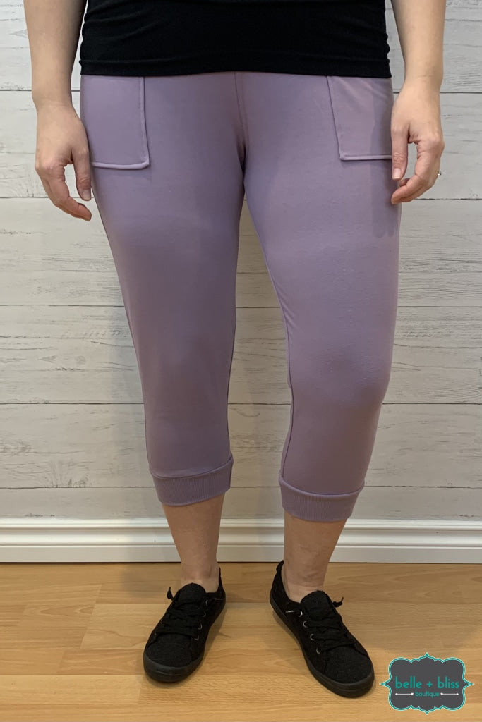 Capri Joggers With Pockets - Purple Bottoms