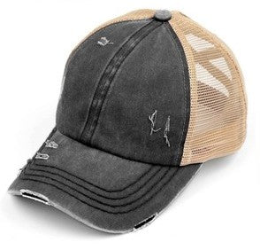 Criss Cross Pony Cap - Charcoal/Beige