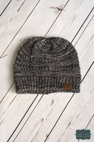 Classic Marled Knit Cc Toque - Black/white Accessories