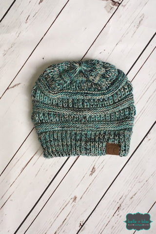 Classic Marled Knit Cc Toque - Ice Blue Accessories