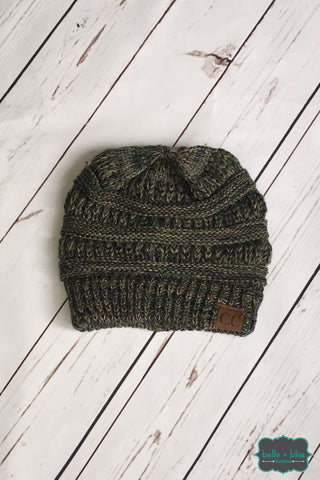 Classic Marled Knit Cc Toque - Olive Accessories