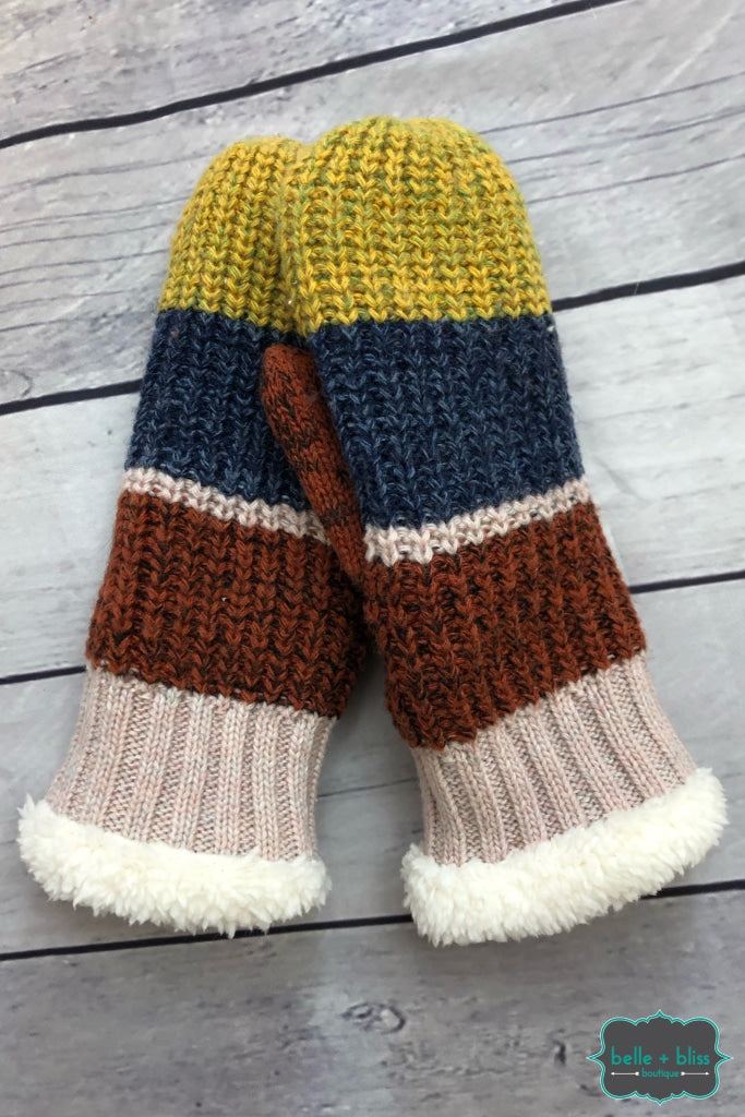 Colourblock Mittens - Mustard/navy/brick B+B Crew