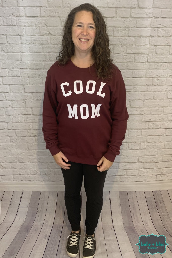 Cool Mom Graphic Sweatshirt - Burgundy B+B Crew