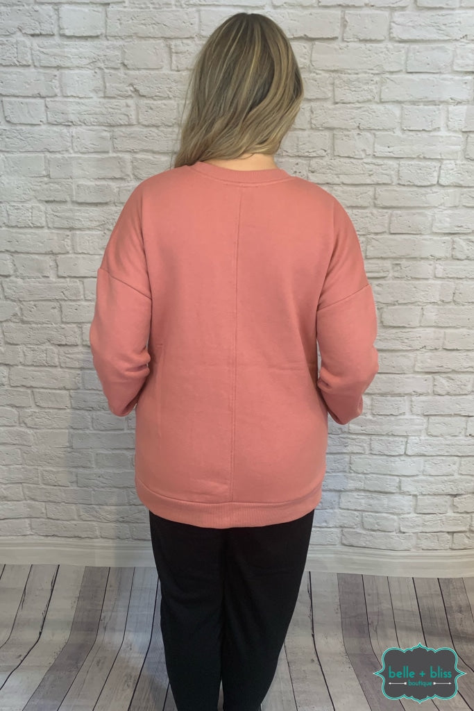 Cozy Sweatshirt With Pockets - Light Rose B+B Crew