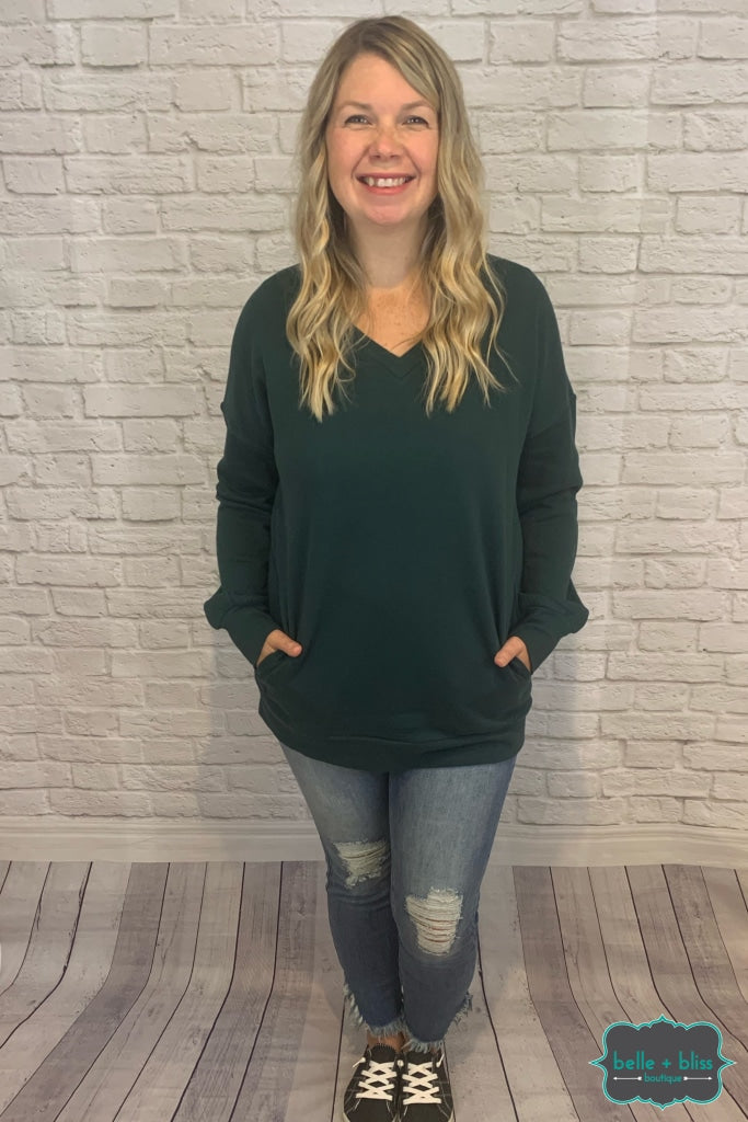 Cozy V-Neck Sweatshirt With Pockets - Forest Green B+B Crew