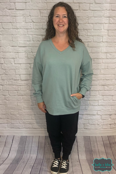 Cozy V-Neck Sweatshirt With Pockets - Sage B+B Crew