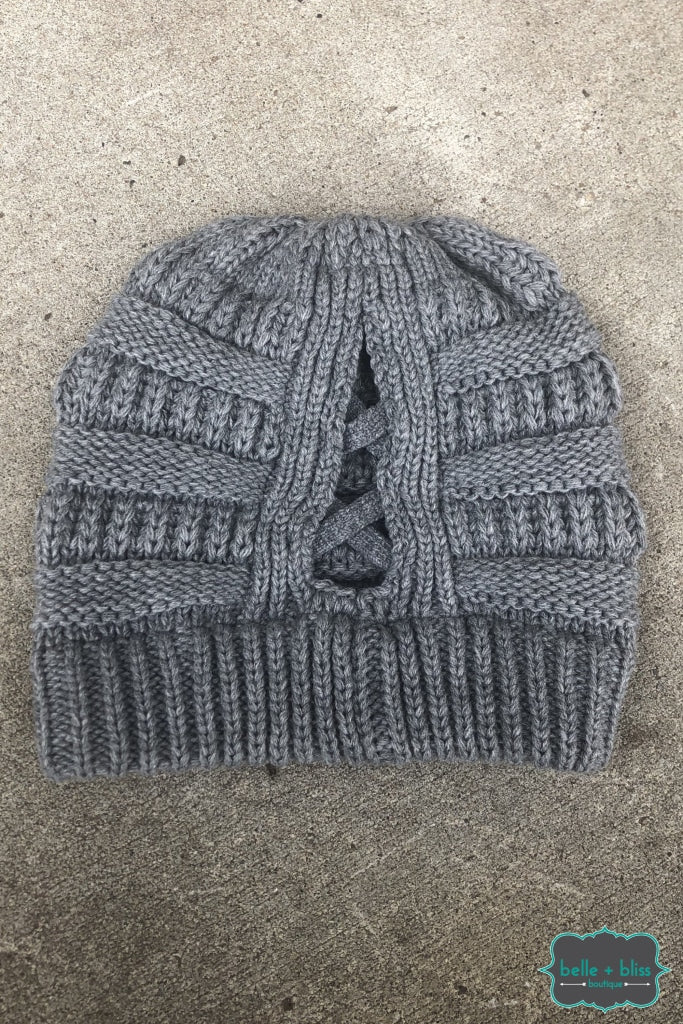Criss Cross Pony Knit Cc Toque - Grey B+B Crew
