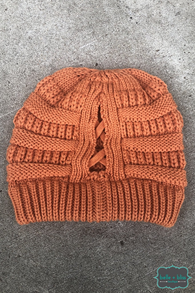 Criss Cross Pony Knit Cc Toque - Pumpkin B+B Crew