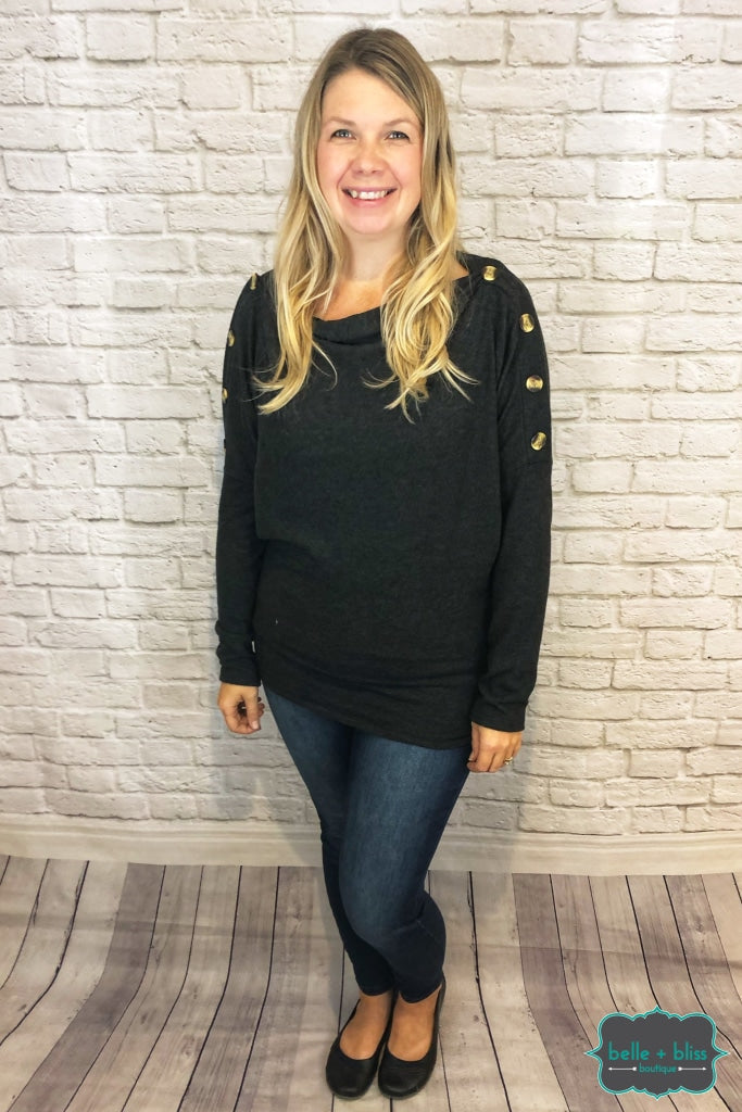Dolman Sweater With Buttons - Charcoal Tops & Sweaters