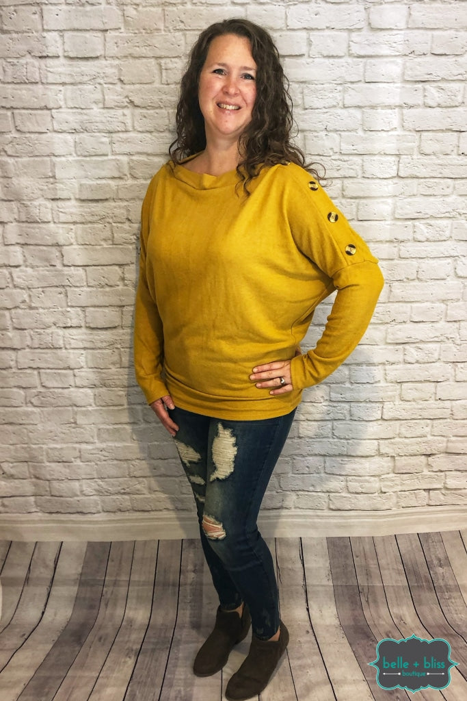 Dolman Sweater With Buttons - Mustard Tops & Sweaters
