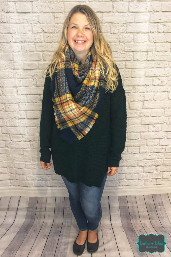Extra Soft Blanket Scarf - Navy Plaid Scarves/capes