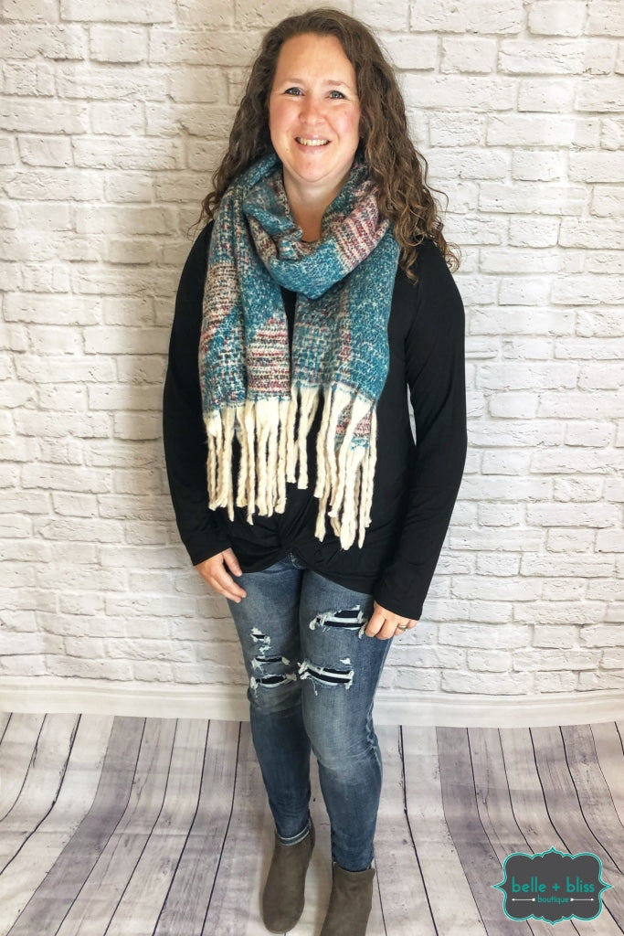Extra Soft Scarf - Teal/wine/oatmeal B+B Crew