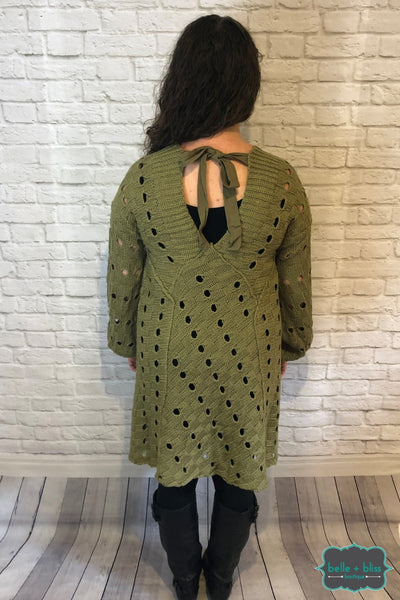 Eyelet Sweater With Tie Back - Moss Tops & Sweaters