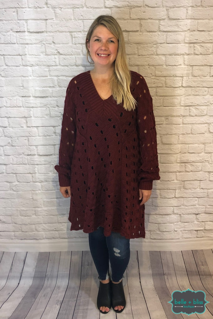 Eyelet Sweater With Tie Back - Wine Tops & Sweaters