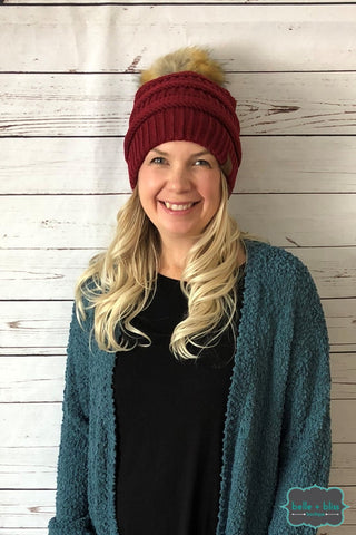 Faux Fur Pom Knit Cc Toque - Burgundy Accessories