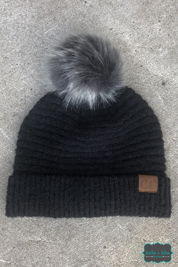 Faux Fur Pom Plush Knit Cc Toque - Black B+B Crew