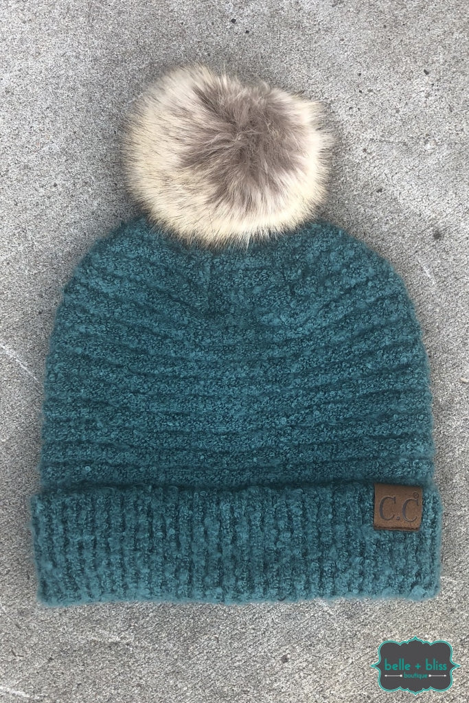 Faux Fur Pom Plush Knit Cc Toque - Teal B+B Crew