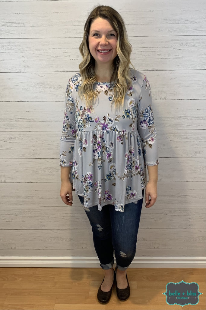 Floral Babydoll - Light Grey Tops & Sweaters