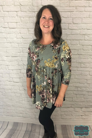 Floral Babydoll Tunic - Grey Tops & Sweaters