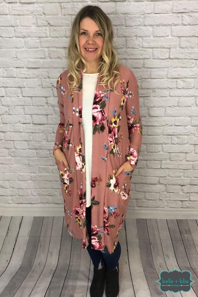 Floral Cardigan With Elbow Patches - Dark Blush Tops & Sweaters