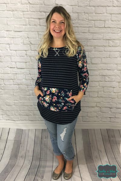 Floral French Terry Raglan - Navy Tops & Sweaters
