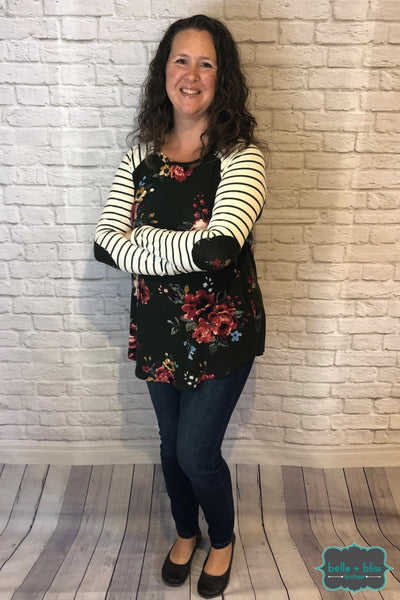 Floral Raglan Tunic With Elbow Patches - Dark Olive Tops & Sweaters