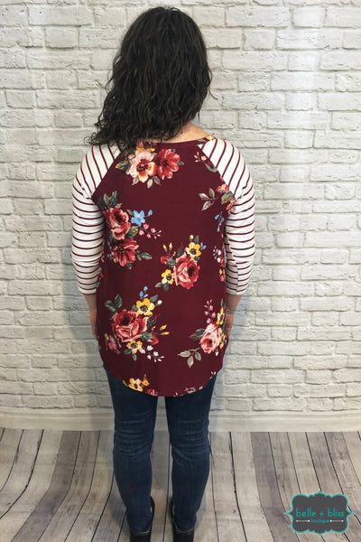 Floral Raglan With Striped Sleeves - Berry B+B Crew