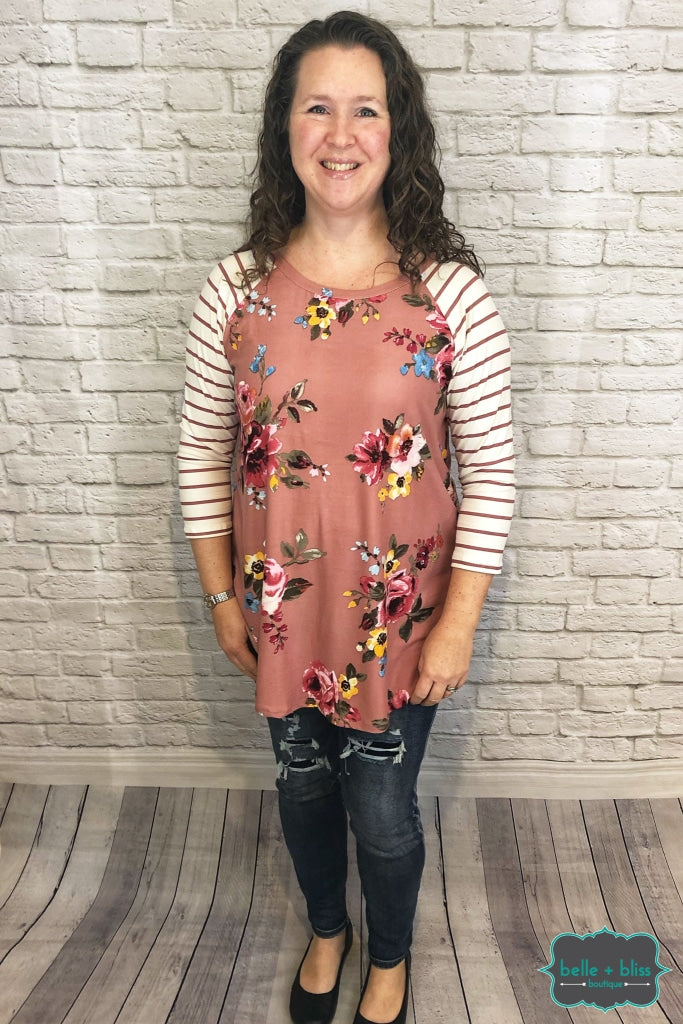 Floral Raglan With Striped Sleeves - Pink B+B Crew