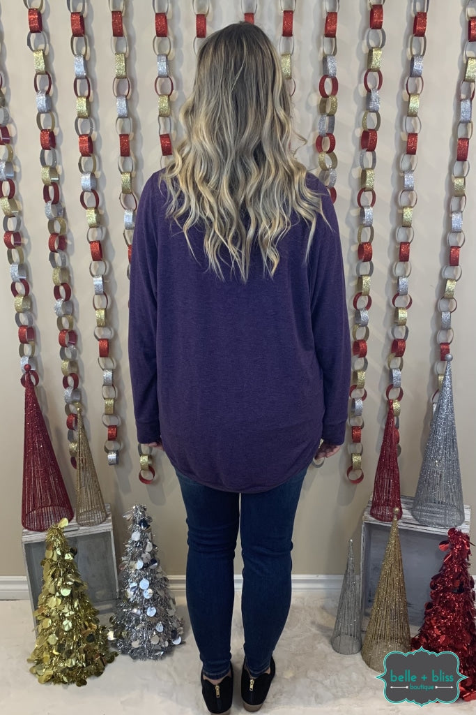 Freeloader Long Sleeve Oversized Raglan - Two Tone Purple Tops & Sweaters