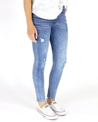 Grace and Lace Classic Distressed Mid Rise Pull On Denim