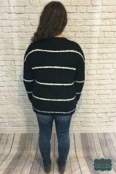 Fuzzy Eyelash Sweater - Black/white B+B Crew