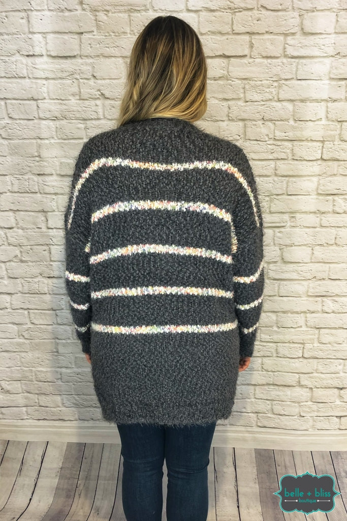 Fuzzy Eyelash Sweater - Grey/white With Coloured Detail B+B Crew