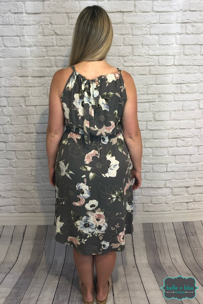 Halter Floral Dress With Pockets - Carbon B+B Crew