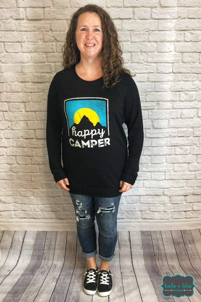 Happy Camper Graphic Pullover - Black B+B Crew