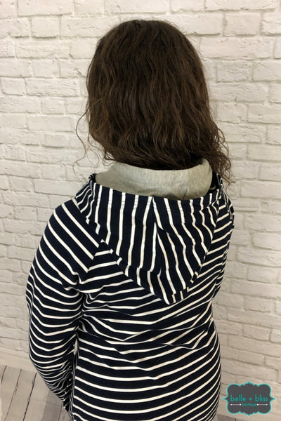 Hoodie With Two Hoods - Navy Stripes Tops & Sweaters