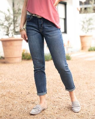 Grace and Lace Favourite Girlfriend Jeans - Non Distressed Dark Wash