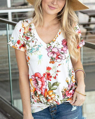 Grace & Lace Live-In Twist Hem Tee - Ivory Floral