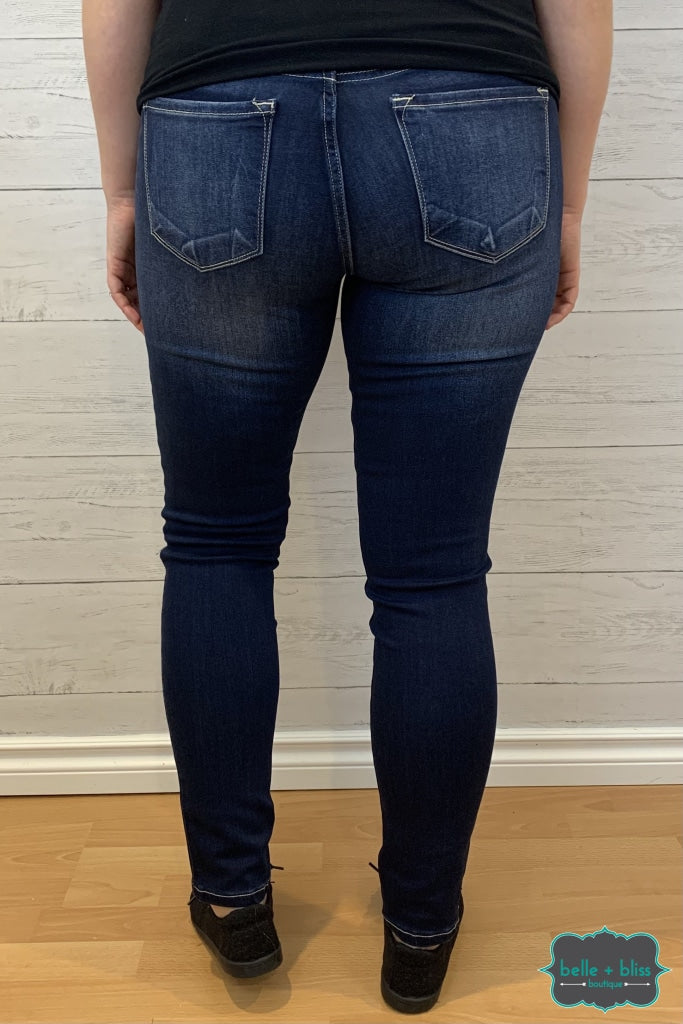 Kancan Jeans Francis Mid Rise Super Skinny - Dark Wash Bottoms
