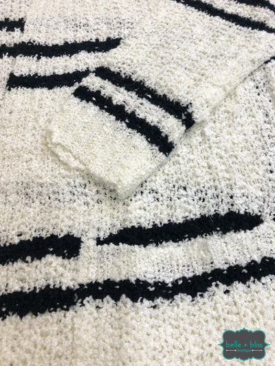 Knit Cardigan With Pockets - Black/ivory B+B Crew