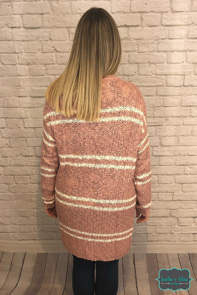Knit Cardigan With Pockets - Pink/ivory B+B Crew