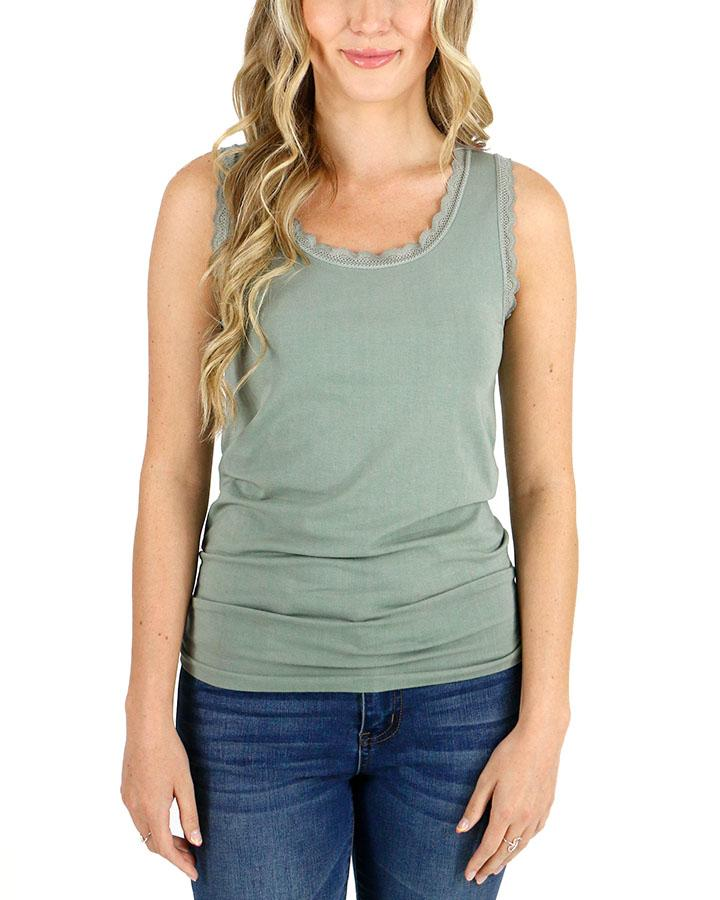 ***PRE-ORDER*** Grace and Lace Perfect Fit Tank Lace Trimmed - Sage