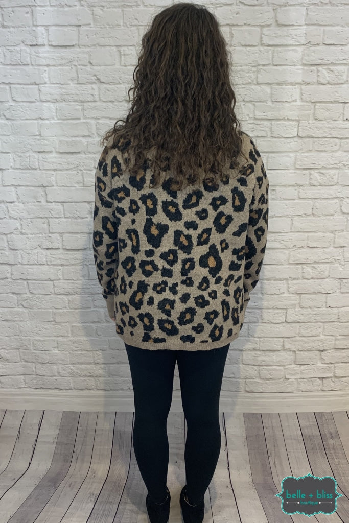 Leopard Knit Sweater Tops & Sweaters