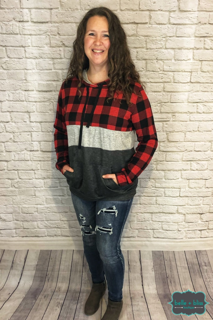 Lightweight Buffalo Plaid Colourblock Hoodie B+B Crew